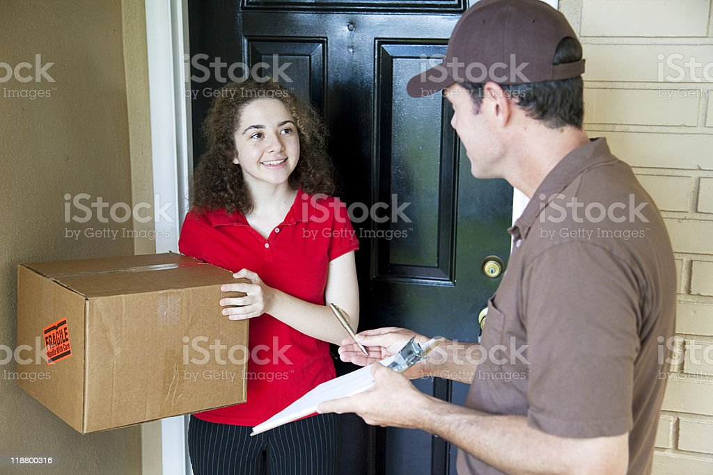 Delivering a Package stock photo