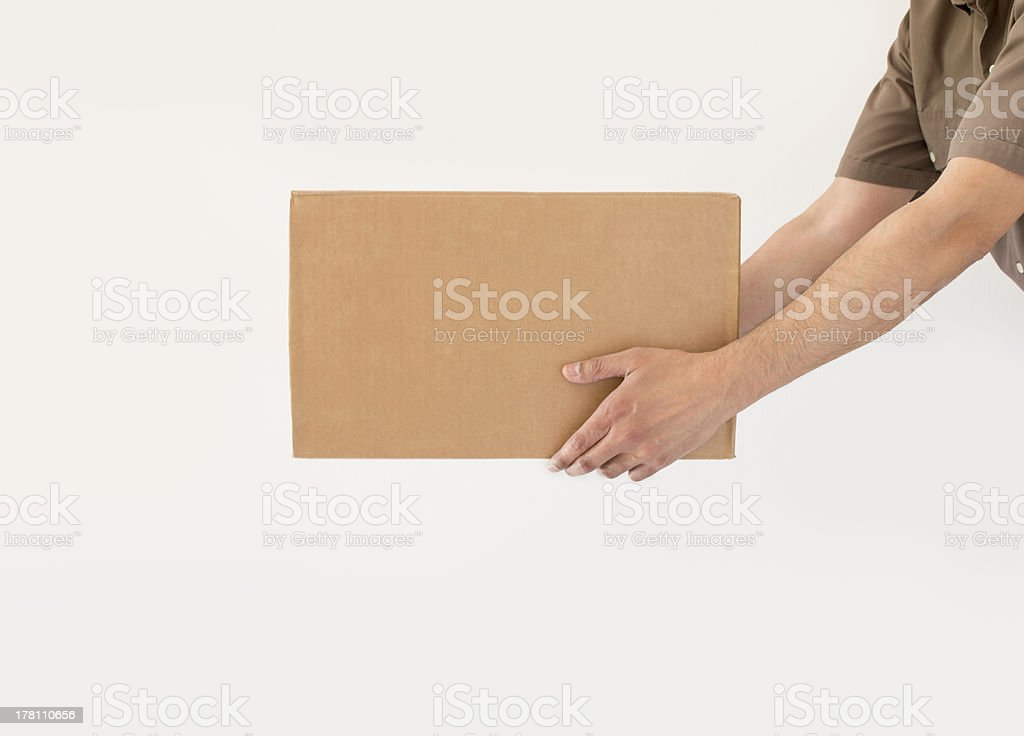 delivering a packet with copy space stock photo