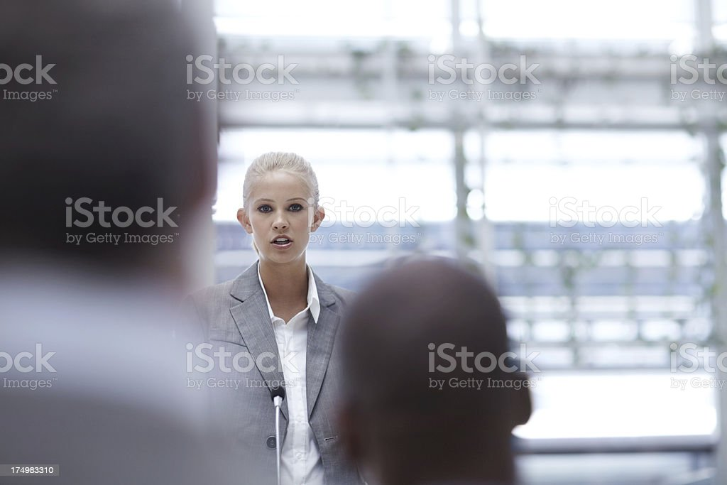 Delivering her business concepts with confidence royalty-free stock photo