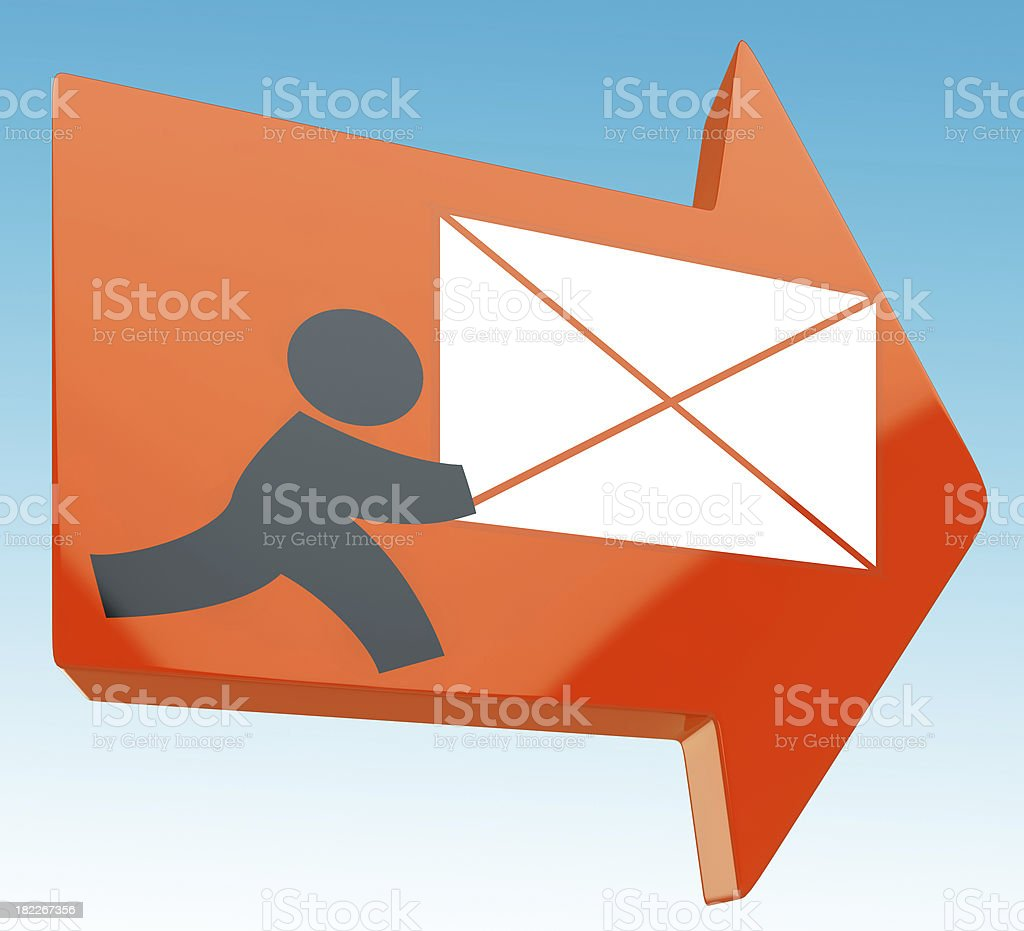 Delivering Mail Arrow Showing Post royalty-free stock photo
