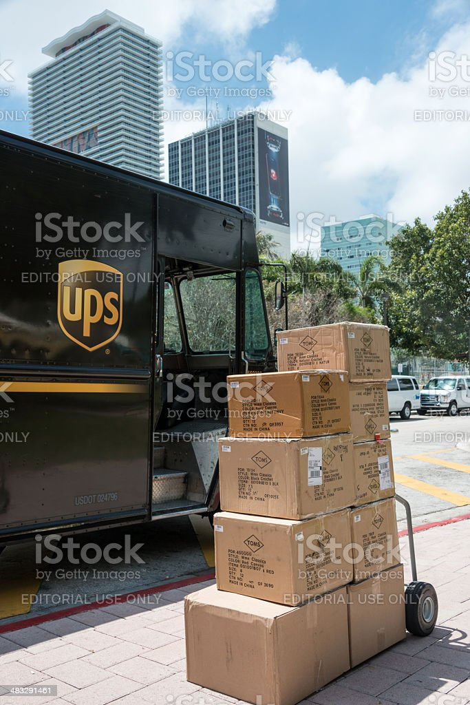 UPS Delivering stock photo