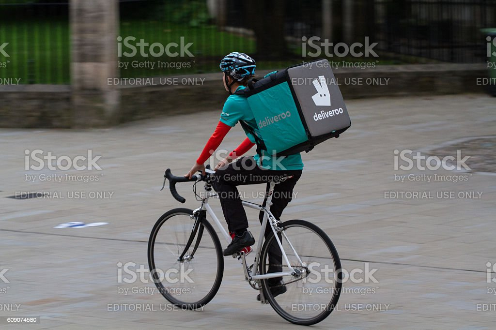 Deliveroo Delivery Cyclist stock photo