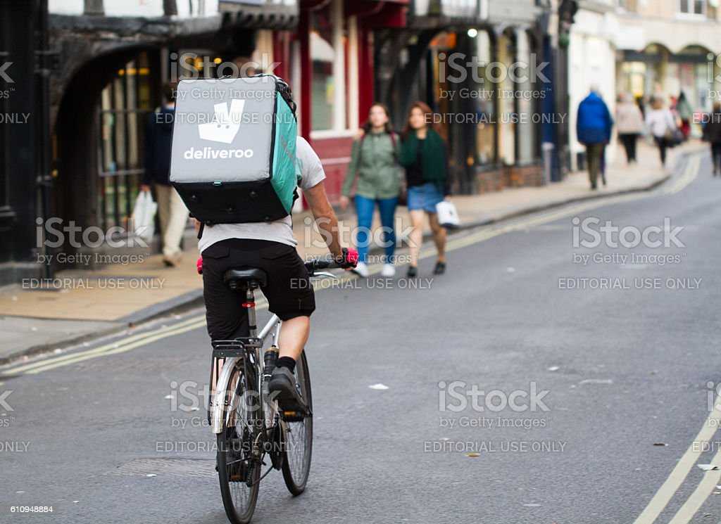 Deliveroo Take Away Cyclist stock photo
