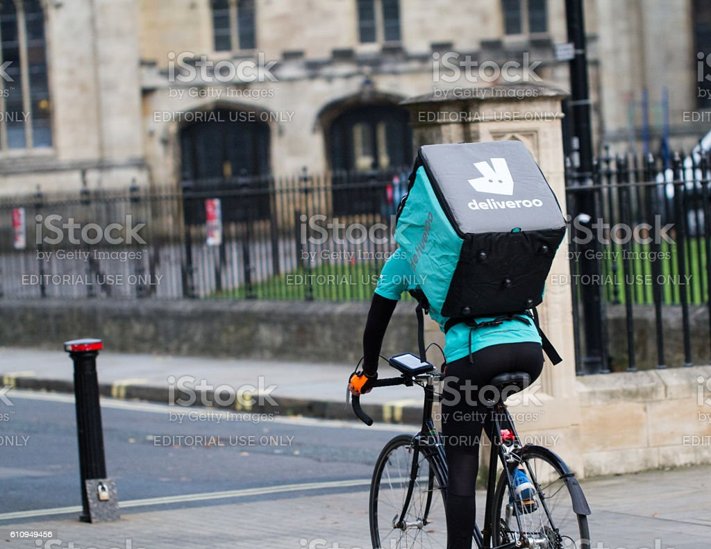 Deliveroo Take Away Delivery Cyclist stock photo