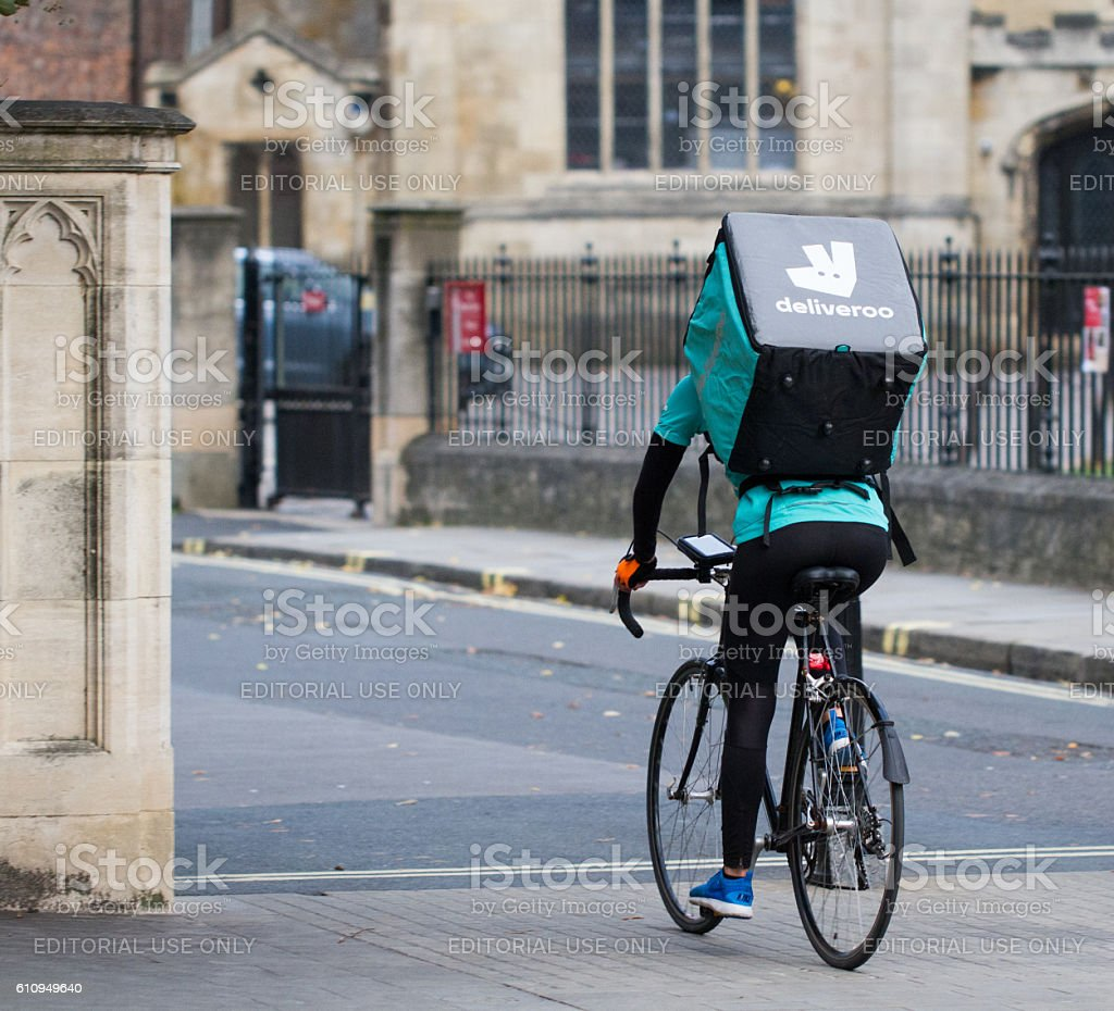 Deliveroo Take Away Food Delivery Cyclist stock photo