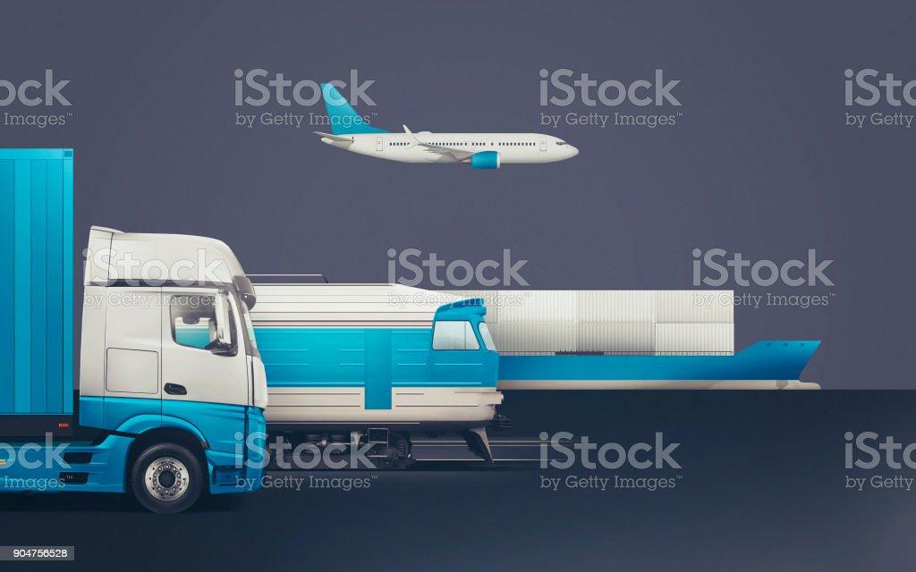 Livraison et transport de marchandises, le concept de transport de fret vaste monde. illustration 3D - Photo