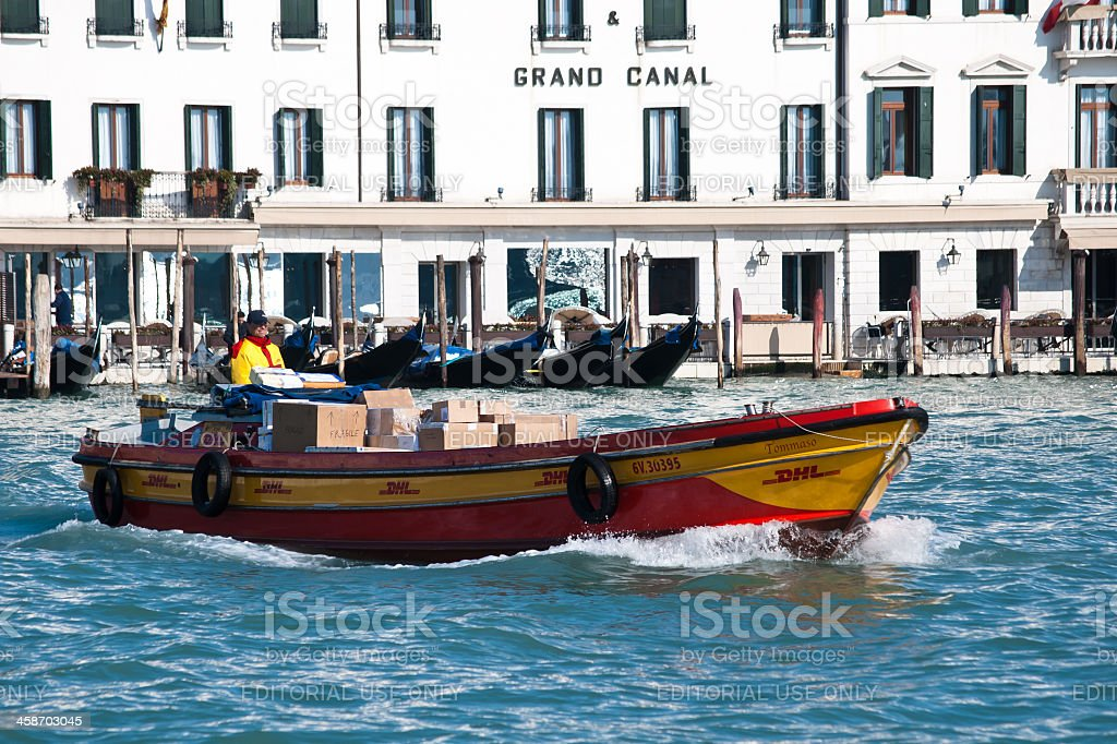 DHL delivery boat stock photo