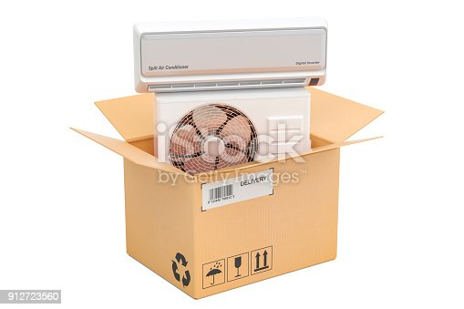 istock Delivery concept, air conditioner inside cardboard box. 3D rendering 912723560