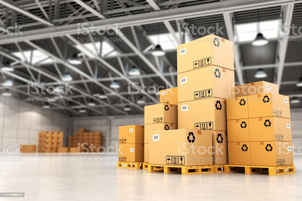 Delivery concept. Boxes on pallet in the warehouse. stock photo