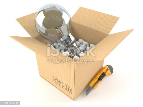 Open box with lightbulb concept isolated on white background