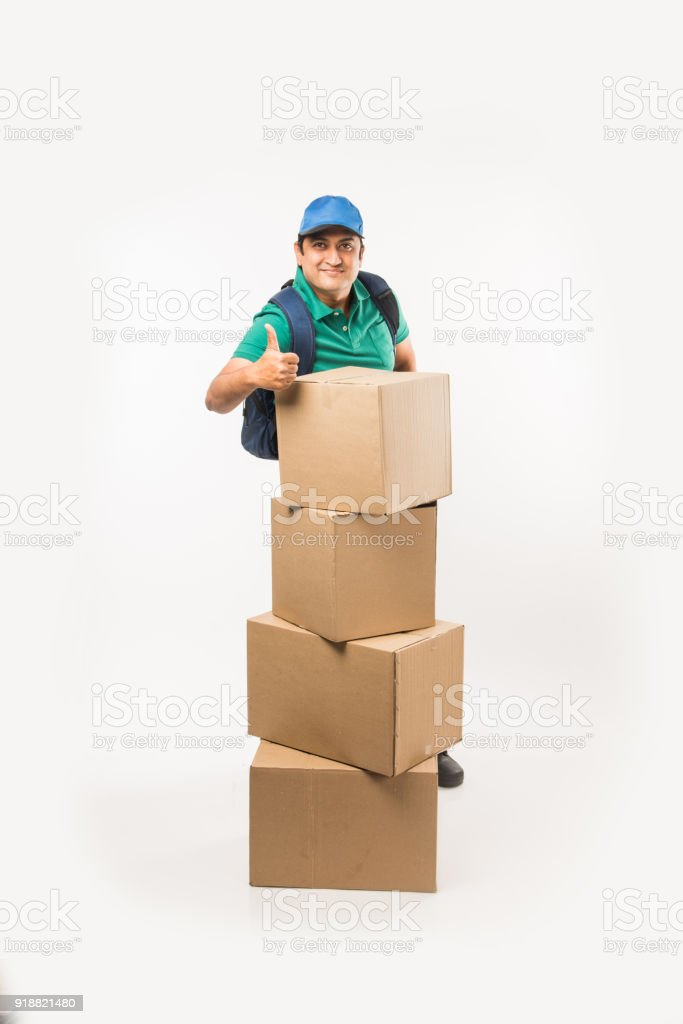 Delivery Concept Portrait Of Happy Indian Or Delivery Man In