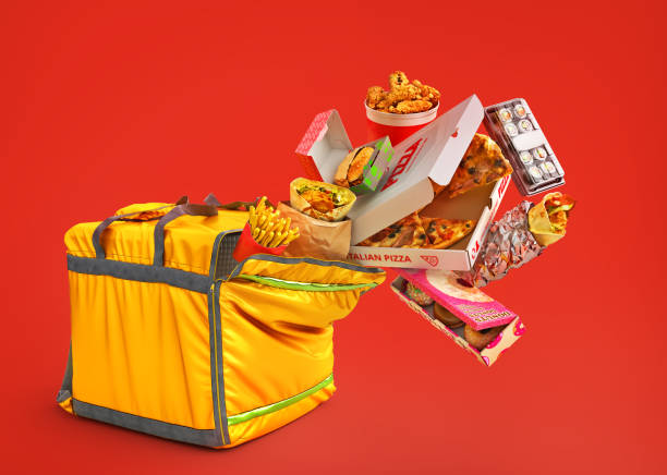 Delivery concept. Thermal backpack for contactless food delivery with different food. Online ordering food. 3d illustration stock photo