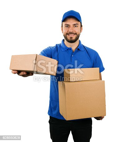 istock delivery courier giving cardboard shipping box. isolated on white 628550828