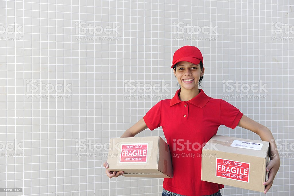 delivery courier with  package royalty-free stock photo