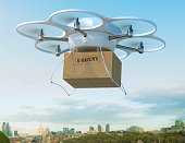 Delivery drone carrying urgent shipment box in a city.