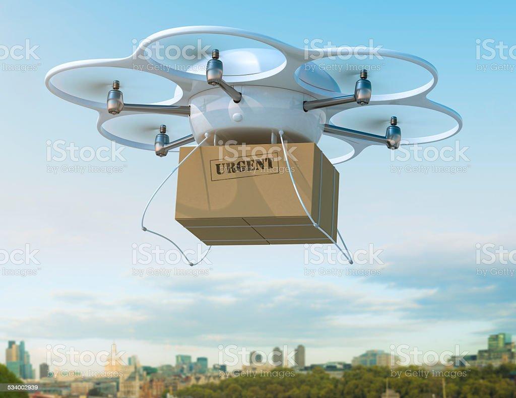 Monótona de envío de transporte para caja para envíos urgentes en la ciudad. - foto de stock