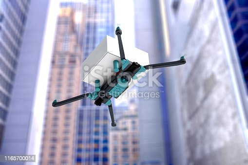 istock Delivery drone flying in city with first aid kit 1165700014