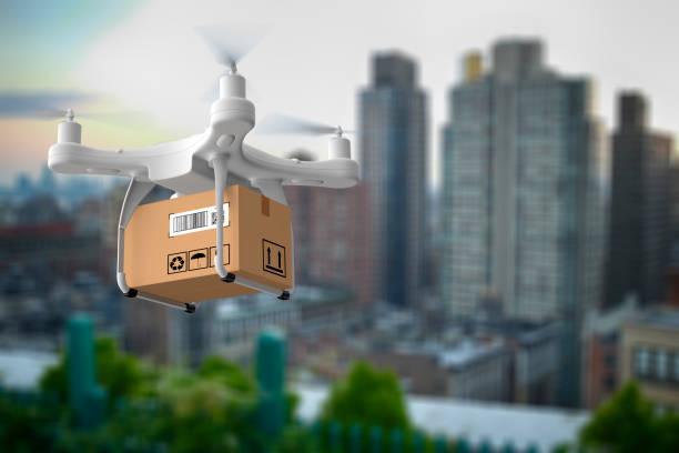 Lieferung Drohne fliegen in New York city – Foto