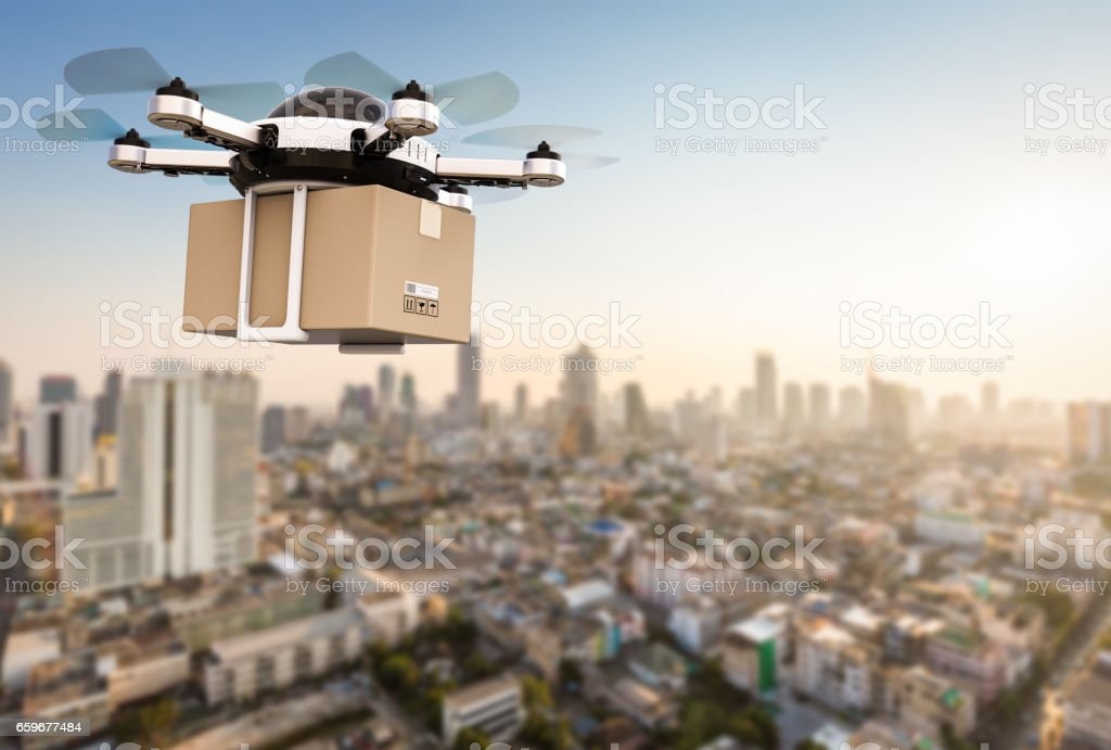 delivery drone flying stock photo