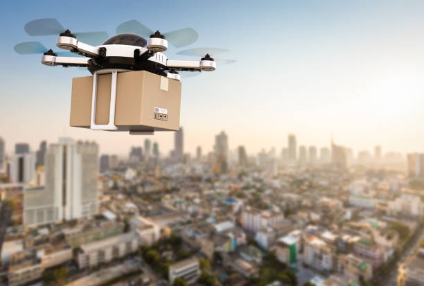 delivery drone flying - drones stock photos and pictures