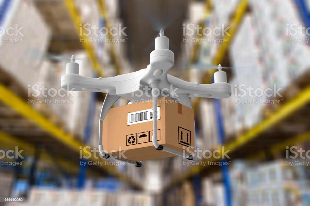 Delivery drone in warehouse stock photo