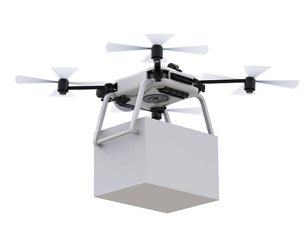 delivery drone with box - drones stock pictures, royalty-free photos & images