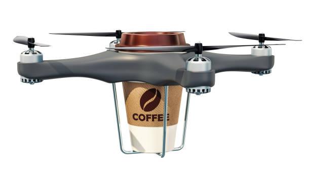 leverans drone med kopp kaffe, 3d-rendering isolerade på vit bakgrund - delivery robot bildbanksfoton och bilder