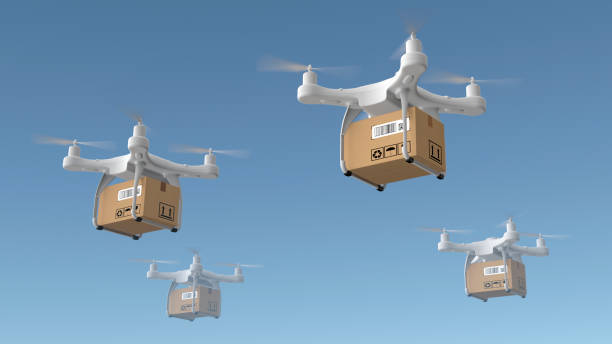 delivery drones flying - drones stock photos and pictures