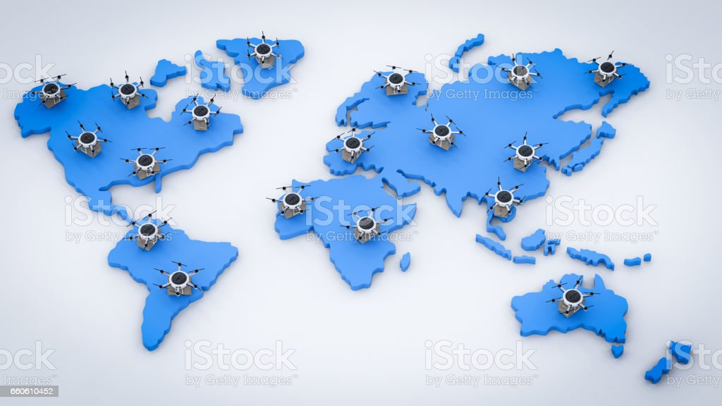 delivery drones on world map royalty-free stock photo
