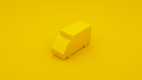 Delivery, isometric yellow truck 3D illustration.