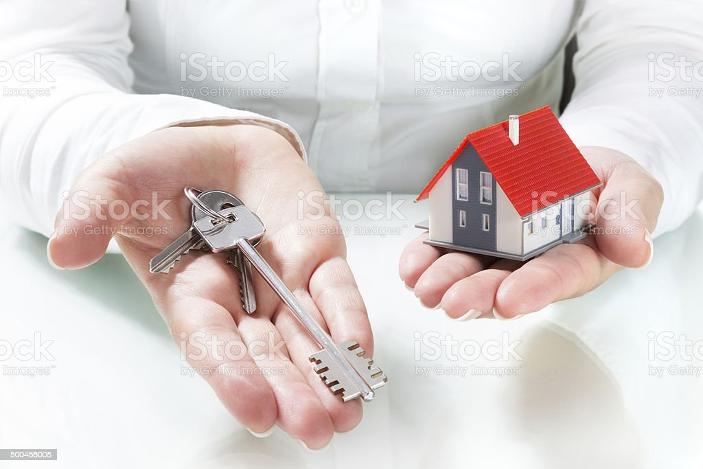 delivery keys to house stock photo