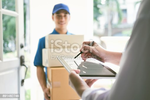 istock Delivery, mail, people and shipping concept. 891482746