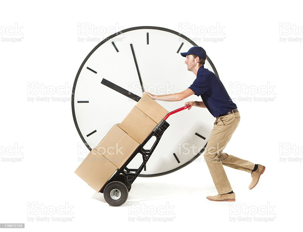 Delivery Man Delivering Package at Express Fast Speed on White stock photo