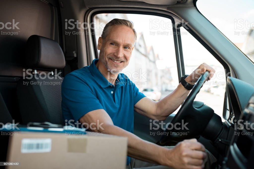 Lieferung Mann van fahren – Foto