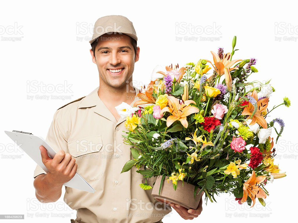 Delivery Man Holding Bouquet Of Flowers And Clipboard Isolated Stock