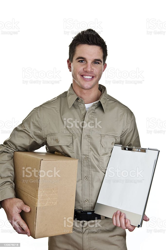 Delivery man holding clipboard for copy space royalty-free stock photo
