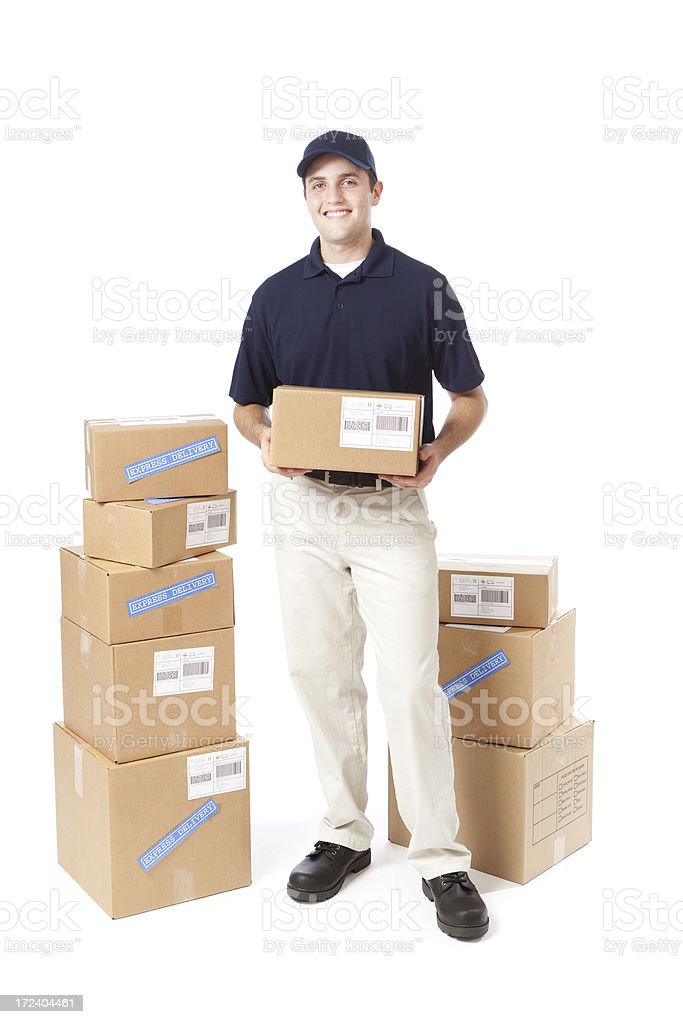 Delivery Man Holding Package on White Background royalty-free stock photo