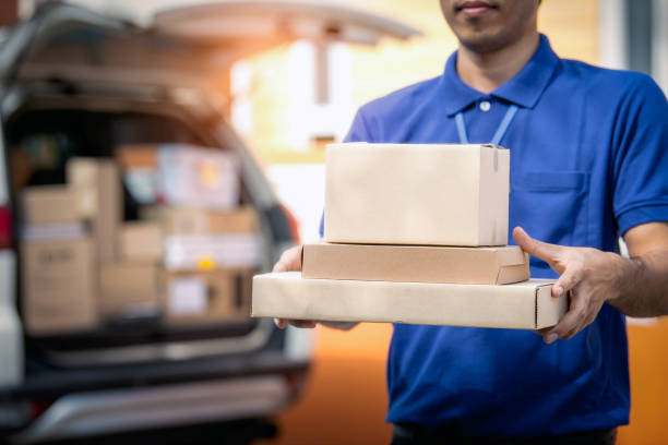 Delivery man holding package. stock photo