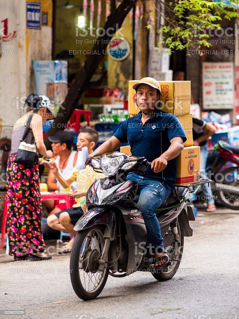 Delivery Man in Hanoi, Vietnam stock photo