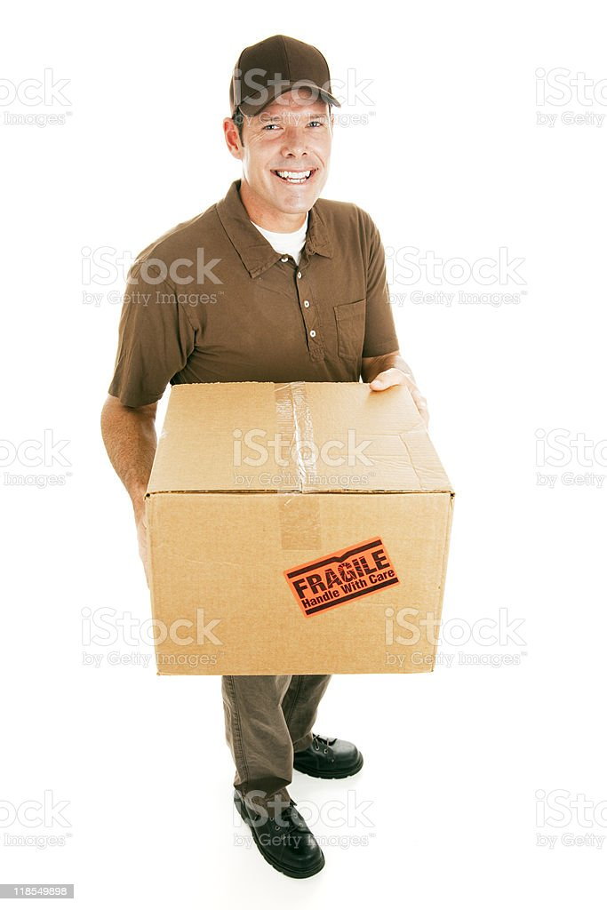 Delivery Man with Box royalty-free stock photo