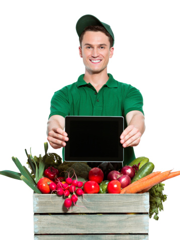 Delivery Man With Digital Tablet Stock Photo - Download Image Now