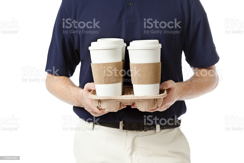 Delivery Man with Drinks and Coffee on White Background Hz stock photo