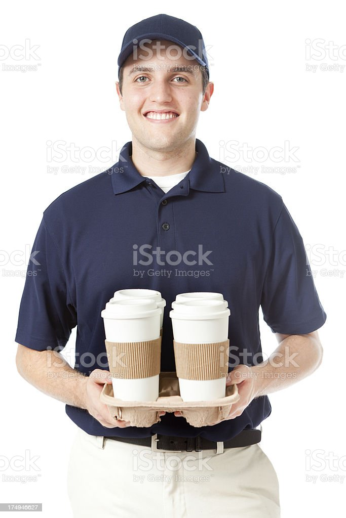 Delivery Man with Drinks and Coffee on White Background Vertical royalty-free stock photo