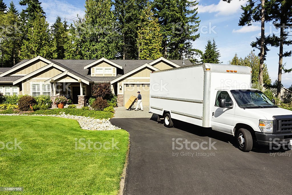 Delivery Man with Truck stock photo