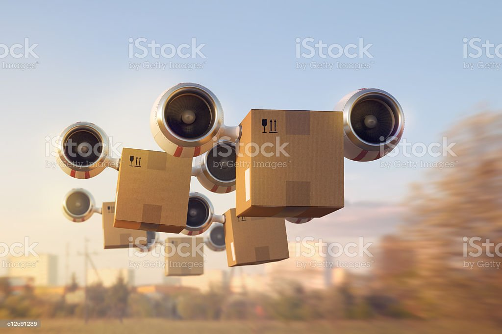 Delivery of a large number of goods by air stock photo