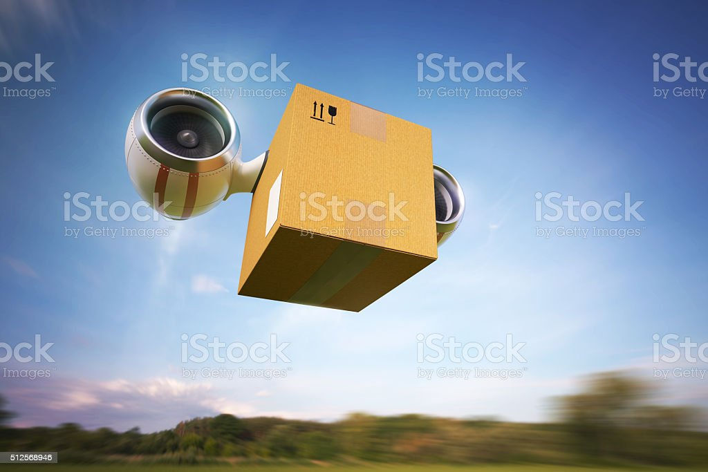 Delivery of goods by air stock photo