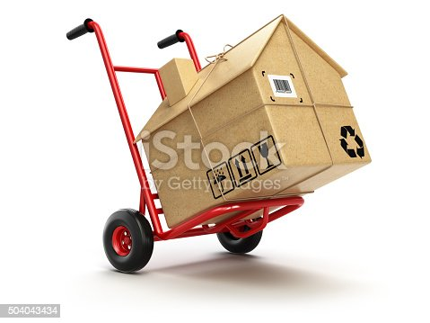 istock Delivery or moving houseconcept. Hand truck with cardboard box a 504043434