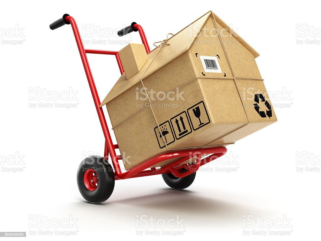 Delivery or moving houseconcept. Hand truck with cardboard box a​​​ foto