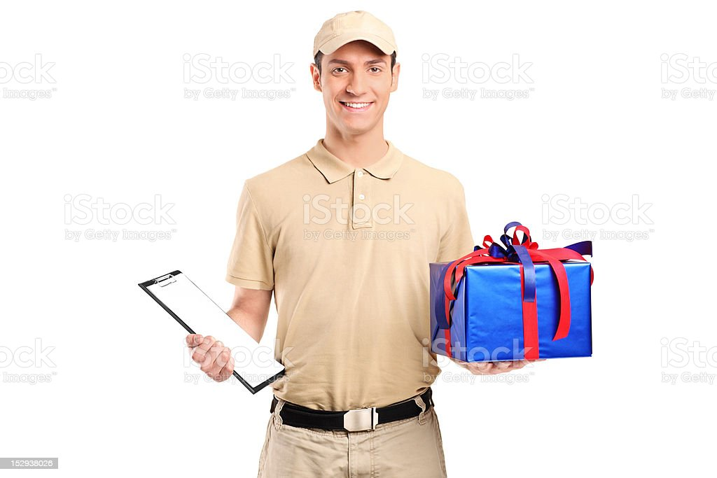 Delivery person delivering a big gift box royalty-free stock photo