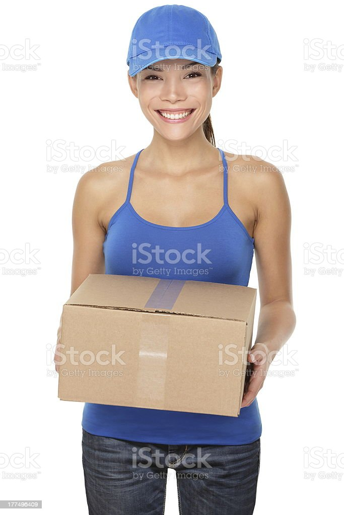 Delivery postal service woman royalty-free stock photo